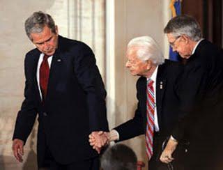 President George W. Bush helping frail Dem Senator & former KKK member Robert Byrd