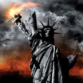 Liberty in flames