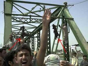 Red arrows indicate U.S. bodies hung from bridge.
